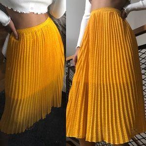 Yellow Polka Dot Midi Skirt